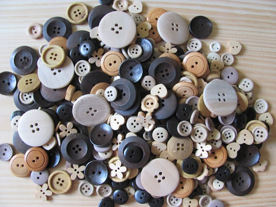 Buttons, Assorted Wood Craft Buttons, Crafting Supplies, Various Size and Shapes Wood Buttons