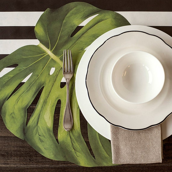 Tropical Wedding Placemats, Tropical Monstera Leaf Paper Placemats, Party Place Mats, Paper Placemats