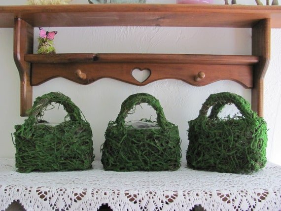5 Easter Craft Baskets, Moss Wicker Baskets, Easter Planter Baskets, Floral Containers, Easter Plant Container, Empty Easter Flower Baskets