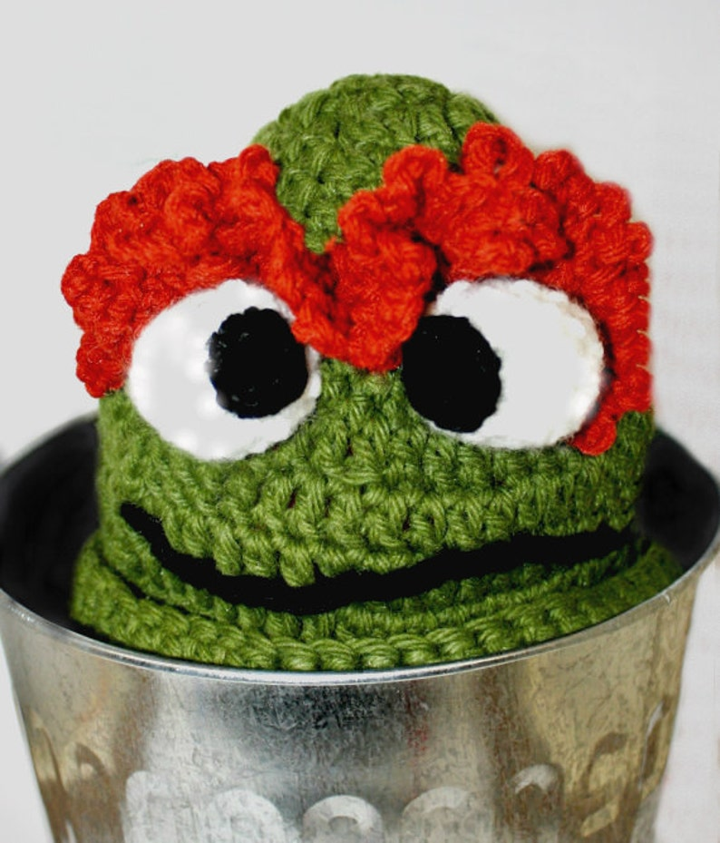 666bc7231f5 Sesame Street Beanie Crochet Elmo Hat Oscar the Grouch