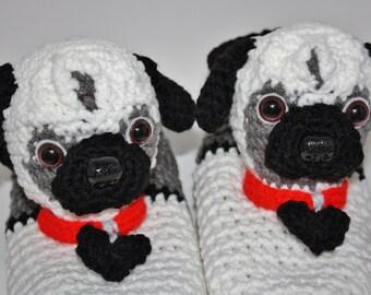 Funny Sock Slippers - Pug Slippers - Adult Slippers - Cool Sock Slippers - Cozy Slippers - House Slippers - Slipper Socks