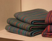 Beachcomber Blue Handwoven Cotton Towel w/light Turquoise housewarming gift Handwoven kitchen towel artisan made by hand in BC Canada