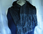 Handwoven Merino Wool scarf black grey gray washable wool scarf hypo-allergenic wool unisex fashion classic fashion great with anything