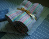 Handwoven Cotton Washable Napkins reuseable light blue pink turquoise green yellow spring altar cloth table center face cloth gift wrapping