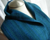 Merino Wool handwoven scarf blue w/ hint of emerald green washable wool scarf hypo-allergenic wool unisex straight fringe classic handdyed