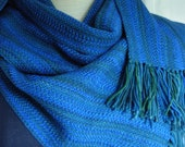 Handwoven Merino Wool royal blue scarf w/ hint of emerald green washable wool scarf hypo-allergenic wool unisex fashion classic fashion