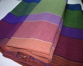 Handwoven Cotton Towel Santa Fe kitchen accent blue green red purple orange bold stripes chefs gift yardage can be sold as fabric or scarf