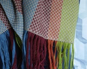 Large comfy cotton scarf handwoven wide stripes flax cayenne orange red burgundy french blue lime green comfy scarf handwoven in BC Canada
