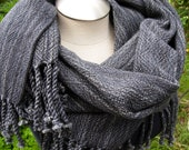 Handwoven Merino Wool Shawl/extra large scarf grey gray with black, easy care wool, meditation wrap, evening wear throw yoga blanket wrap