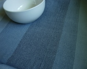 Handwoven Cotton Towel many blues w/light blue weft  blue stripes, blue kitchen accents housewarming gift hostess gift chef's gift cook