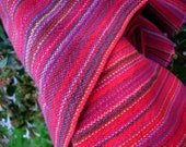 Handwoven Cotton Towel Red Festival blue green, handmade in Canada, artisan woven, kitchen linens, housewarming gift, Spring, Mother