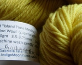 Plant-dyed Merino Wool yarn handdyed w/natural dye Yellow Weld superwash non-felting sport wt 3-ply bright yellow TWO skeins
