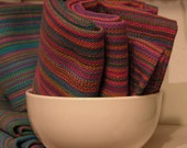 Handwoven Cotton Towel Spring Flowers light blue pink turquoise green yellow, spring in kitchen pink lover happy colors pink cotton fabric