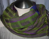 Lace-type weave cotton tencel scarf boho chic  funky green and purple scarf