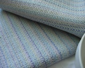 Kitchen Towel Handwoven White 100% cotton lavender steel blue grey gray pastel blue housewarming gift bread cloth table topper altar cloth