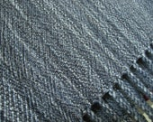 Handwoven Merino Wool Shawl/extra large scarf grey gray with black, easy care, soft, meditation wrap, evening wear for woman