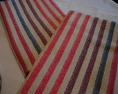 Handwoven Cotton Towel Red, Blue and Maroon striped 100% Cotton Secret Santa gift hostess gift gift under 30 table topper bread basket cloth