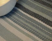 Handwoven Cotton Towel funky blue stripes retro-look kitchen accents in blue, handwoven gifts woven in Canada  artisan woven in BC