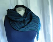 Handwoven Merino Wool scarf black blue w/ hint of emerald green washable wool scarf hypo-allergenic wool unisex fashion classic fashion
