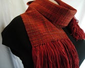 Handwoven Merino Wool scarf Rhapsody orange red blue green funky orange scarf accessories, comfy scarf gift short scarf, soft wool scarf