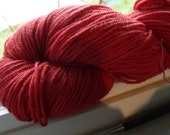 Eco-friendly eco-dyed plant dyed Merino wool yarn certified organic knitting yarn red DK wt madder feltable NOT superwash  215-250 yards