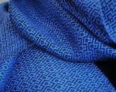 Handwoven Tencel scarf Blue Sapphire w/black, scarf gift, handwoven eco-friendly gift, Woman's fashion, hypoallergenic, scarf for all year