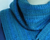 Handwoven Merino Wool scarf blue w/ hint of emerald green washable wool scarf hypo-allergenic wool unisex fashion classic fashion