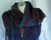 Handwoven tencel striped blue teal red burgundy maroon gold eco-friendly gift elegant scarf  hypoallergenic ladies unisex scarf veg fashion