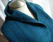 Merino Wool handwoven scarf blue w/ hint of emerald green washable wool scarf hypo-allergenic wool unisex straight fringe classic handdyed