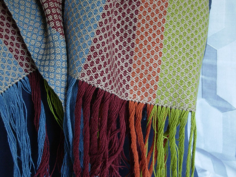 Large comfy cotton scarf handwoven wide stripes flax cayenne image 0