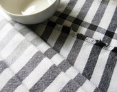 Handwoven cotton towels black and white and grey gray stripes lengthwise 100% cotton washable classic cotton towels fashionable accents