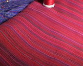 Handwoven Cotton Towel Red Festival blue light wt handmade in Canada, artisan woven red kitchen linens, housewarming gift red accents