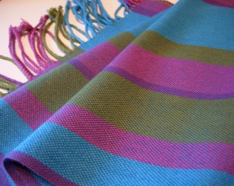 Handwoven Peacock turquoise olive green raspberry maroon purple blue tencel and cotton eco-friendly gift hypoallergenic scarf veg fashion