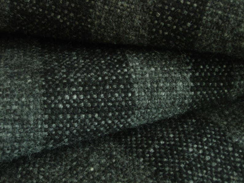 Wool Blanket Handwoven Grey tweed with Dark grey stripes image 0