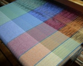 Cotton Towel springtime  handwoven kitchen accent blue green red purple orange bold stripes chefs gift very large towels some have linen