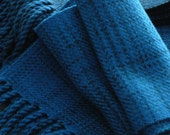 Handwoven Merino Wool scarf Twilight Teal 6.75 x 64 inches plus twisted fringe easy care non-felting