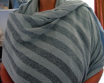 Cotton light weight summer shawl blue on blue stripes in 3 shades with soft blue textured large shawl great drape comfy huge scarf