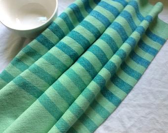 Handwoven Cotton Towel aquamarine/turquoise/pale green 100% natural cotton kitchen towel cloth napkins table linens dish towel basket liner