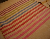 Handwoven Cotton Towel pink red blue green magenta striped neutral background faux flax or natural cotton 100% Cotton hostess gift under 35