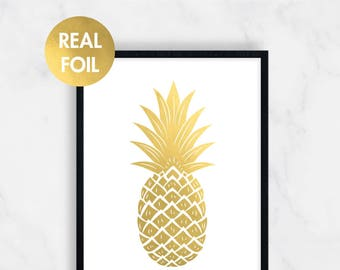 Gold Foil Pineapple, Tropical Print, Summer Decor, Pineapple Print, Gold Pineapple, Foil Prints, Gold Foil, Rose Gold, Silver, 8x10, 11x14