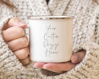 Custom Campfire Mug, personalized camp mug, camp mug, create your own mug, design your own camp mug, metal mug, custom mug design, tin mug