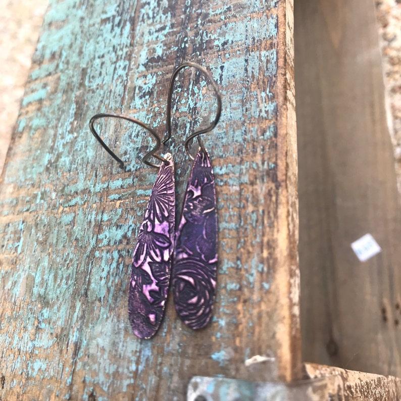 Earrings purple floral drops image 0