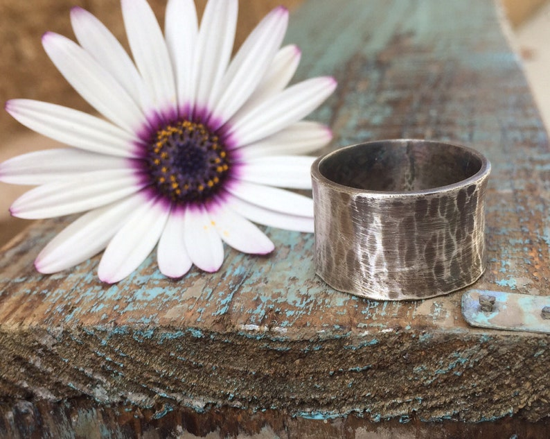 Hammered silver ring / wide band ring image 0