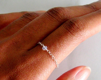Genuine Sterling Silver Opal Chain Ring, Real Opal Ring, unique rings for her, Opal Natural Ring, October Birthstone Ring, dainty chain ring