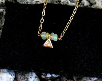 Goddess Diamond Opal Dainty Necklace, Gold, Sterling Silver, October Birthstone jewelry, tiny opal necklace, real opal gift boho choker gift