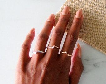 Stack Ring Set, knuckle rings, rose gold ring set, rose gold midi rings, gold filled, sterling silver, sterling silver midi stacking rings