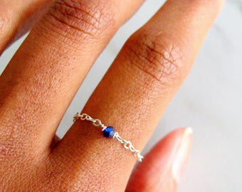 Raw Sapphire & Sterling Silver Chain Ring blue sapphire rings, thin chain ring, raw crystal ring, bohemian rings, dainty rings, promise ring