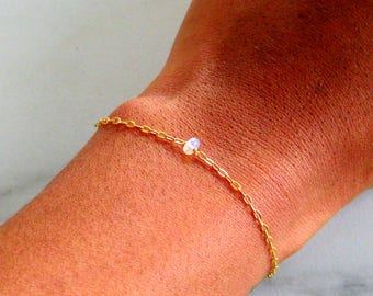 Tiny Opal Bracelet, Rose Gold, Gold, Sterling Silver, Real Opal gift, birthstone jewelry, bead bracelet, delicate bracelet stacking bracelet