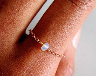 Rose Gold Opal Ring, October Birthstone Chain Ring, Opal Natural Ring, Delicate Rings, Boho Chic Gemstone Rings, simple promise ring,