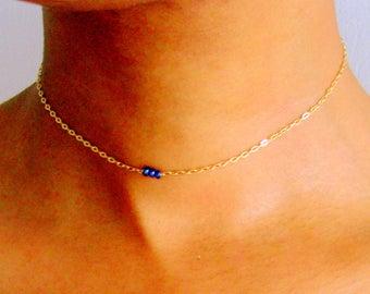 Dainty Labradorite Necklace, Silver, Rose Gold, Gold Gemstone Choker, February birthstone jewelry, dainty choker necklaces, boho choker gift